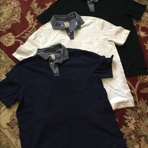 Three Solid Two Tone Button Collar T-shirt Large